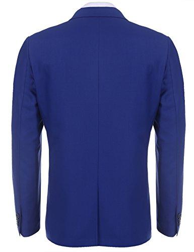 Hasuit Herren Anzugjacke Normal Fit Ein Knopf Sakko in europäischen Größen Blau