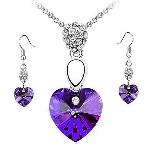 feiXIANG Herz Halskette Ohrring Schmuck Set Strass Anhänger Kette Geschenk Damen Ladies Accessoires(Rot,Freie Größe) -