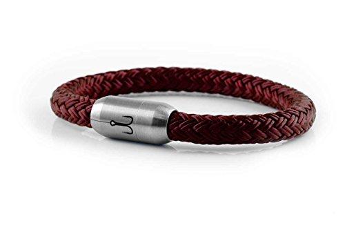FISCHERS FRITZE® Segeltau / Edelstahl Armband MAKRELE 2.0 Dunkelrot – HANDMADE maritimes Herrenarmband & Damenarmband inkl. Geschenkbox