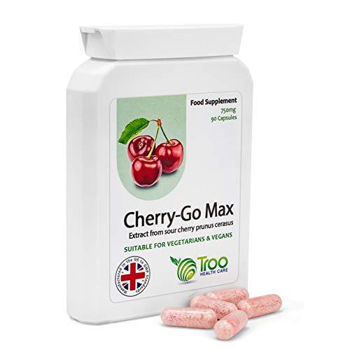 Cherry Go Max Montmorency-Kirschen (750 mg) - 90 Kapseln - Hochkonzentrierte Gefriergetrocknete - Max 90 Kapseln