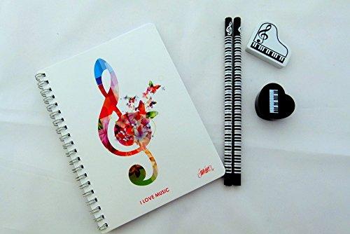 Musik themenorientierter Schreibwaren - Weiß Bunte Violinschlüssel Notebook, HB Bleistifte,...