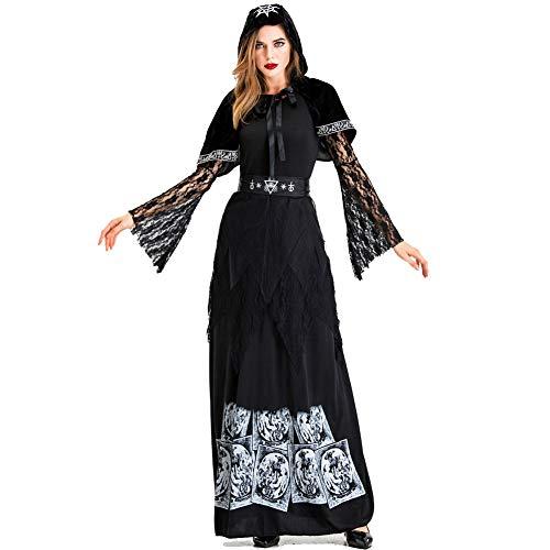 Kostüm Verrückte Magier - PAOFU-Halloween Hexenmagier Kostüm Kostüm Verrücktes Kleid Cosplay für Erwachsene,Schwarz,L