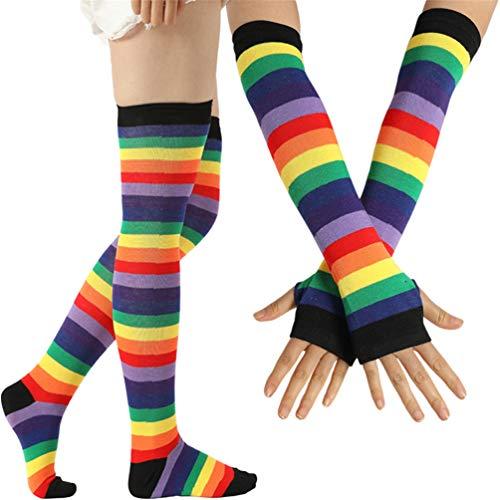 EDOTON Kniestrümpfe Regenbogen Streifen Arm Wärmer Bein Strumpf Bunte Oberschenkel Hohe Socken Fingerlose Handschuhe Hülsen-Set für Frauen Mädchen Party Stützen (Schwarz) -