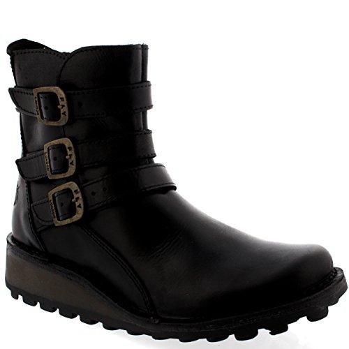 Londres Preta Calcanhar Cunha Boots Calcanhar Myso Voar Baixo Fivela Ankle Senhoras wBPtvq7g