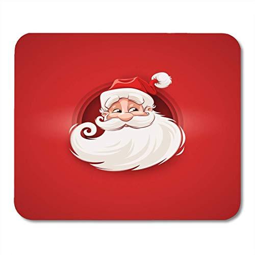 Luancrop Mausunterlage lächelnder Weihnachtsmann-Charakter-Kopf-weißer Bart und Schnurrbärte Mousepad für Notizbücher, Tischrechner-Mausunterlagen, Bürozubehöre -