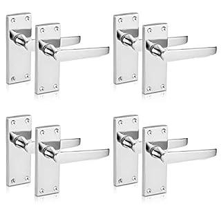 XFORT® Lever Latch Flat Polished Chrome Door Handles, Elegant Door Handle Set for Wooden Doors, Classic Victorian Straight Design, Ideal for All Types of Internal Doors [4 Pair].