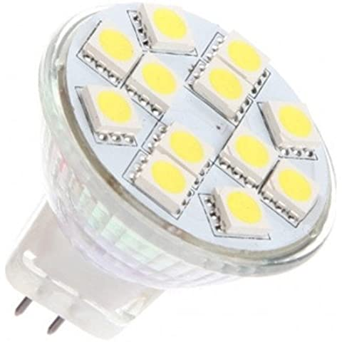 12 Vmonster Ac/Dc 12 V 24 V, 3 W, 12 x 5050 Lampadina Led Gu4 Mr11, Cluster, colore: bianco caldo, Bi-Pin