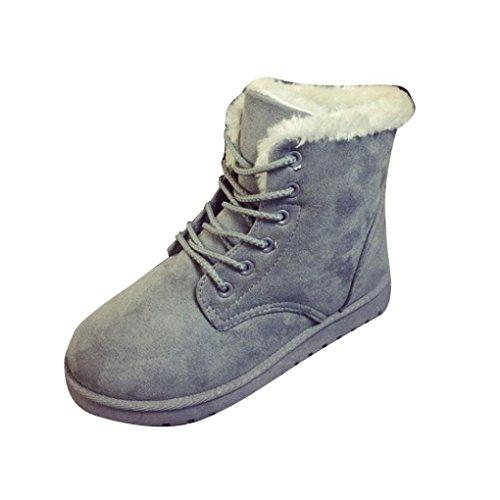 Tefamore Stivali Da Neve Donne, Allineato Pelliccia Inverno Caloroso Caviglia Scarpe (36, Grigio)