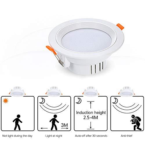 Galapara LED Einbaustrahler mit Bewegungsmelder Auto Schalter Deckenleuchte Nachtlicht Bewegungsmelder 1600 Lumen Einbauleuchte rund Einbautiefe für Schrank Badezimmer Decken Spot