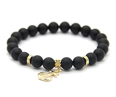 GOOD.designs Chakra-Bracelet made of natural Gemstone beads, Gold Anchor Pendant, women-jewellery (Black)