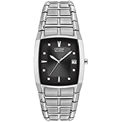 Citizen Men's Eco-Drive Quartz Watch with Black Dial Analogue Display and Stainless Steel Bracelet - BM6550-58E