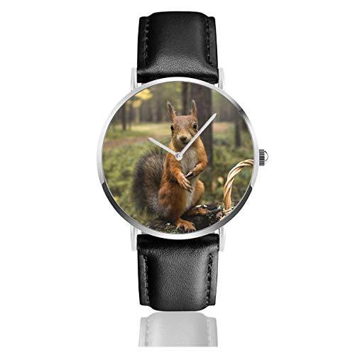 Download Eichhörnchen Gras Einkaufen Sommer Grün Quarzuhr Edelstahl Klassisch Casual Lederarmband Uhren