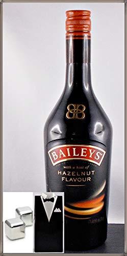 Baileys Hazelnut Flavour irish Cream 0,7 Liter mit 2 XL-Dauer-Eiswürfel aus Edelstahl im Smoking kostenloser Versand -