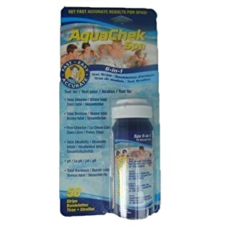 AquaChek Spa 6-in-1 Test Strips - Tests for Total Hardness, Total Chlorine, Total Bromine, Chlorine, pH, Total Alkalinity