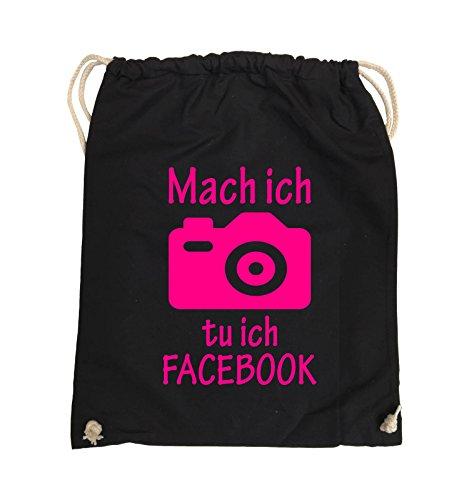 Comedy Bags - Mach Foto ich tu ich FACEBOOK - KAMERA - Turnbeutel - 37x46cm - Farbe: Schwarz / Silber Schwarz / Pink