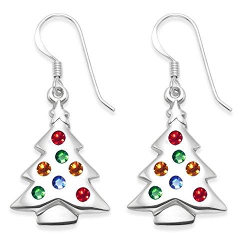 Silber Multi farbigen Zirkonia Silber Weihnachtsbaum Ohrringe - Größe : 23 mm x 16 mm . Frohe Weihnachten Geschenk -Box für Ihre speziellen Weihnachtsgeschenk. (Große Weihnachtsbaum-box)