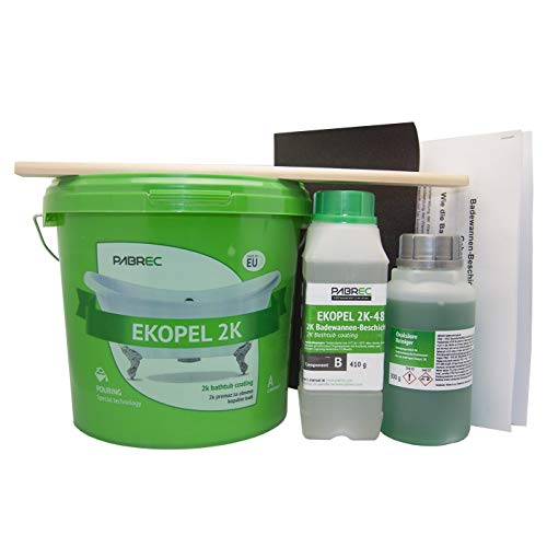 Ekopel 2K Set completo di vernice per vasca da bagno, senza odori, senza solventi, senza solventi, per vasca da bagno, piatto doccia, lavabo, rivestimento senza odore, 3400 g