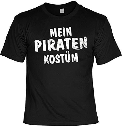 T-Shirt: Mein Piraten Kostüm - T-Shirt für Fasching/Karneval mit lustigem Spruch - Funshirt für die 5. Jahreszeit, Größe:M