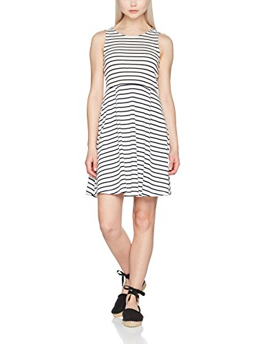 VERO MODA Damen Kleid Vmoslo Stripe S/L Short Dress D2-3, Weiß (Snow White Stripes:Navy Blazer), 42 (Herstellergröße: - Fit-n-flare Dress