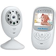 Vigilabebés 2.4 Pulgadas CáMara de Audio Digital InaláMbrico Bebé Monitor, Camaras de Vigilancia Bebes, Zoom de imagen, Sensor de Temperatura, VisióN Nocturna, FuncióN de Interfono, Luz suave de