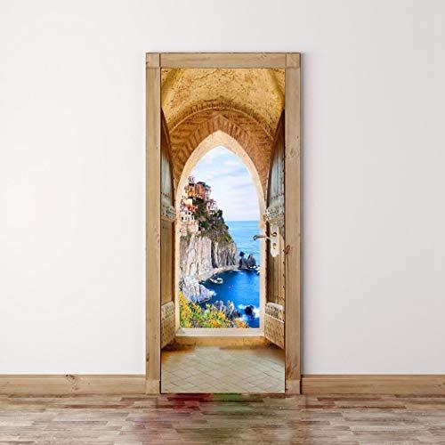 3D-Selbstklebende Tür Aufkleber Die Burg Und Das Meer Vor Der Tür Heimwerken Home Decoration Abnehmbare Wasserdichte Kunst Tapeten Von Qt XINGMU -