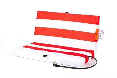 Faltbares Stadion Heizkissen USB Powerbank: Elektrisches Sitzkissen für kalte Jahreszeiten - Wasserabweisendes und schmutzresistentes Stadionkissen - Warmes Outdoor Klappkissen - Rot/Weiß