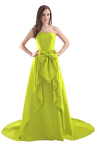 Bridal_Mall Damen Elegant Partykleider Lang mit Schleppe Schleife Prom Abendkleider Gelb