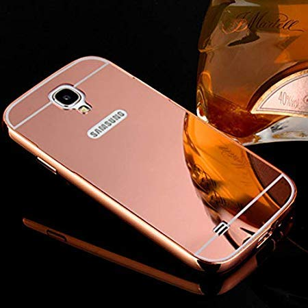 Prego Metal Bumper Acrylic Mirror Back Cover Case for Samsung Galaxy S4 9500 - Rose Gold