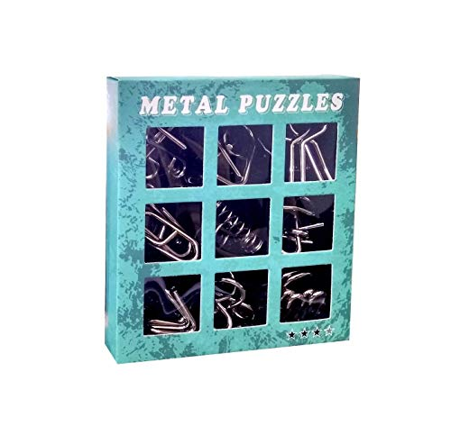 ST Creation Metal Wire Puzzle IQ Mind Brain Teaser Interlocking Games Set Educational for Kids/Teenagers All Age Group for Gift-(9 Pieces)