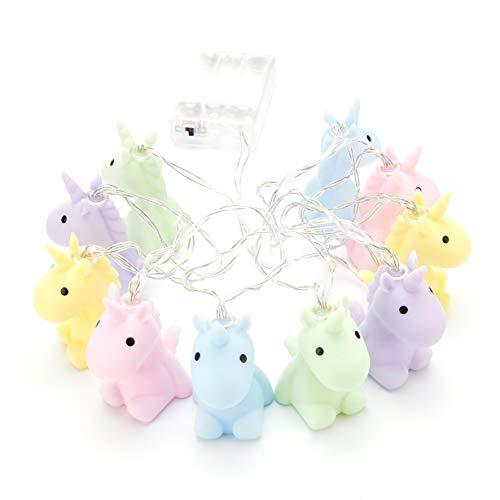 RMEX Unicorn Lichterkette für Kinderzimmer und Kinderzimmer Dekoration - Weiche Farben