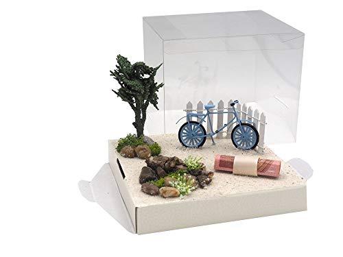 ZauberDeko Geldgeschenk Verpackung Urlaub Fahrrad Blau Geldverpackung Gutschein Weihnachten