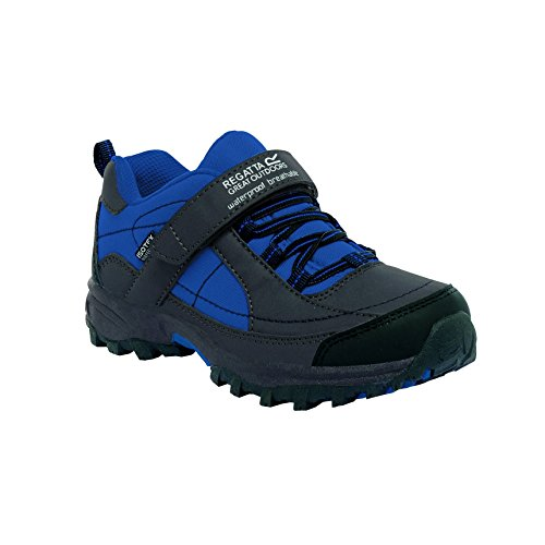 Regatta Boys Trailspace Low Breathable Walking Shoes Grey RKF366 Iron/OxfBlue