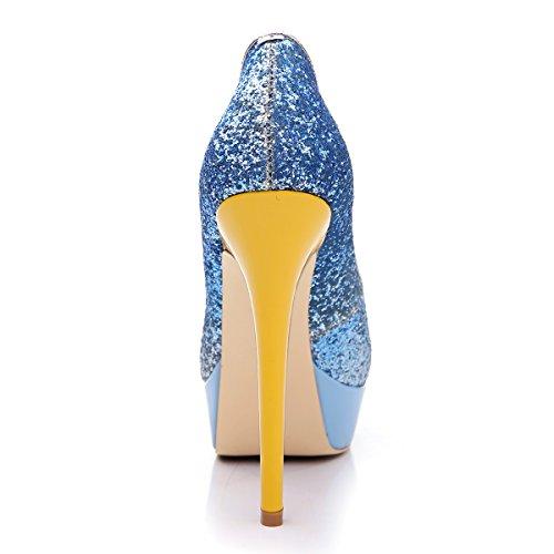 Damenschuhe Pumps Peep Toe High Heels Stiletto Lackleder mit Plateau Glitzer Blau