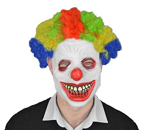 Hi fashionz maschera da clown orribile in lattice con parrucca, per feste di halloween, spaventosa, accessorio per cosplay latex clown mask with wig taglia unica