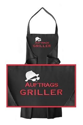 Schürze AUFTRAGSGRILLER, hochwertig bestickt - Schürzenfarbe schwarz *** wunderbares Geschenk! <br> Grillschürze ~~ Latzschürze ~~ Küchenschürze ~~ Backschürze ~~ Kochschürze ~~ Arbeitsschürze ~~ Männerschürze