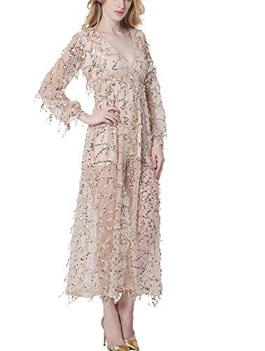 Ghope Elegant Paillettenkleid Lang Kleid V-Ausschnitt Cocktailkleid  Abendkleid mit Quaste Pailletten bestickt Beige ...