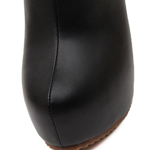 VogueZone009 Femme Rond De Cheville à Talon Haut Couleur Unie Bottes avec Métal Noir