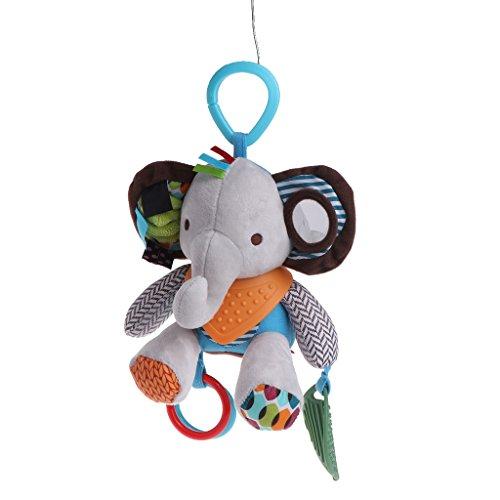 ZJL220 Tiere Spielzeug Babyrassel Glocke Pacify Puppen Säuglings Krippe Kinderwagen Hängen Elefanten
