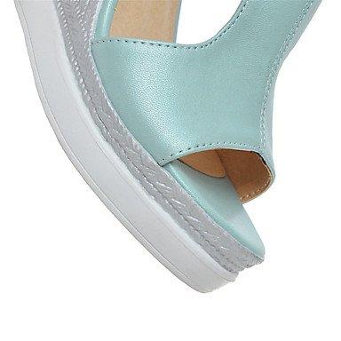 LvYuan Damen-Sandalen-Hochzeit Kleid Lässig-maßgeschneiderte Werkstoffe Kunstleder-Keilabsatz-Andere Neuheit Club-Schuhe-Blau Rosa Weiß Beige White