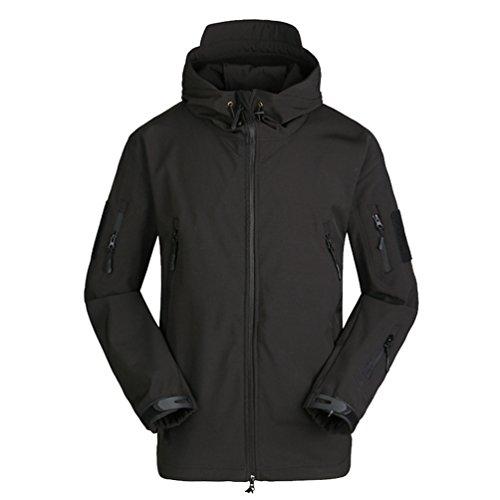 Yuandian uomo tattico militare caccia softshell giacche impermeabile vento pile fodera escursionismo campeggio giubbini con cappuccio sci alpinista cappotti nero xl