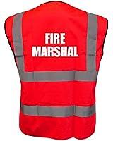 Printed Fire Marshal High Visibility Hi Vis Viz Vest Safety Waistcoat