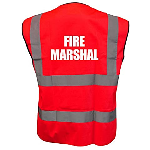 Printed Fire Marshal High Visibility Hi Vis Viz Vest Safety Waistcoat Red XL