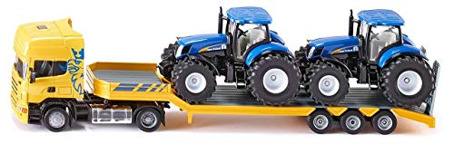SIKU 1984, LKW mit Traktoren, 1:50, Metall/Kunststoff, Gelb/Blau, Kombinierbar mit SIKU Modellen im gleichen Maßstab