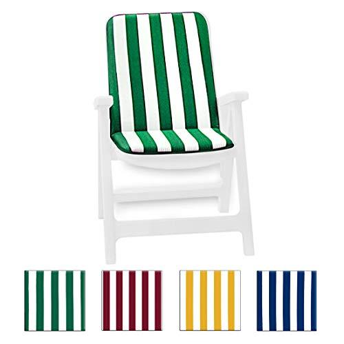 Arrediamoinsieme-nelweb cuscino copri sedia esterno universale morbido a righe pieghevole tessuto cotone per piscina mare giardino mod.capri fasciato blu