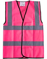 Pink Hi Vis Viz Vest High Visibility Safety Reflective Waistcoat Workwear
