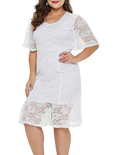 Aleumdr Damen Plus Size Cocktail Kleider Spitze Blumen Partykleid Uboot Ausschnitt V-Rücken XXXL (Hochzeit 12 Weiße Kleid Größe)