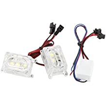 sourcingmap® Foco luz flash estroboscópica 2 piezas para motocicleta cuboides forma 3 LED blanco decoración