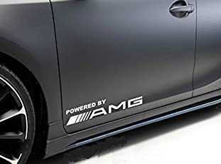 isee360 2Pcs Powered By Amg Die Cut Water Resistance Stiker for Window Vinyl Decal Sticker