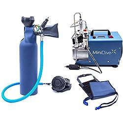 MiniDive Mini Bouteille De Plongée 0,8 L Bleue en Aluminium avec Compresseur Haute Pression Et Harnais de Maintien I Equipement De Plongée Unisex Respiration sous Marine
