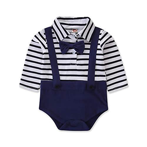 Jungen Strampler Set Kinderkleidung Top Streifendruck Kleidung Neugeborenen Strampler Baby Sommermode Set Kid Navy College Style - College-baby-kleidung